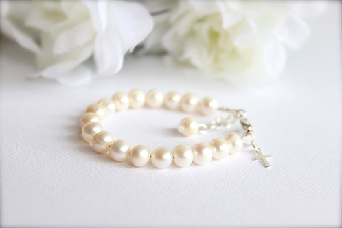 Real Pearls Bracelet with Sterling Silver Cross