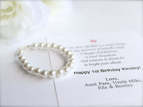 Pearl Bracelet for Baby & Little Girls, 1st Pearls, Birthday, Keepsake Gift