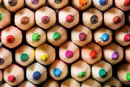 Multicoloured hexagonal pencil tips