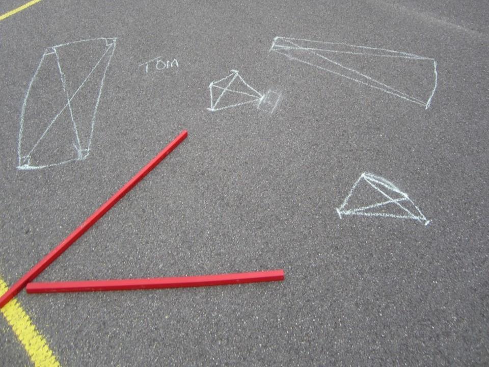 Symmetrical shapes chalked on playground