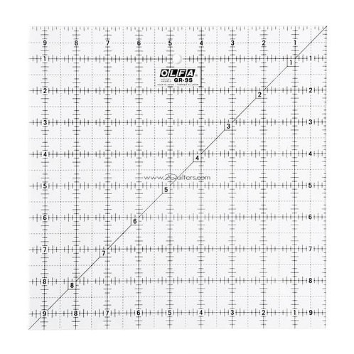 """OLFA 9-1/2"""" Square Frosted Acrylic Ruler"""