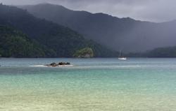 Yacht moored at Pirates Bay
