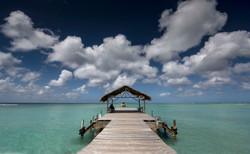 Cloudy blue sky over Caribbean sea
