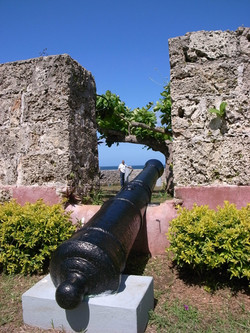 Cannon at ruins of Fort Bennett.