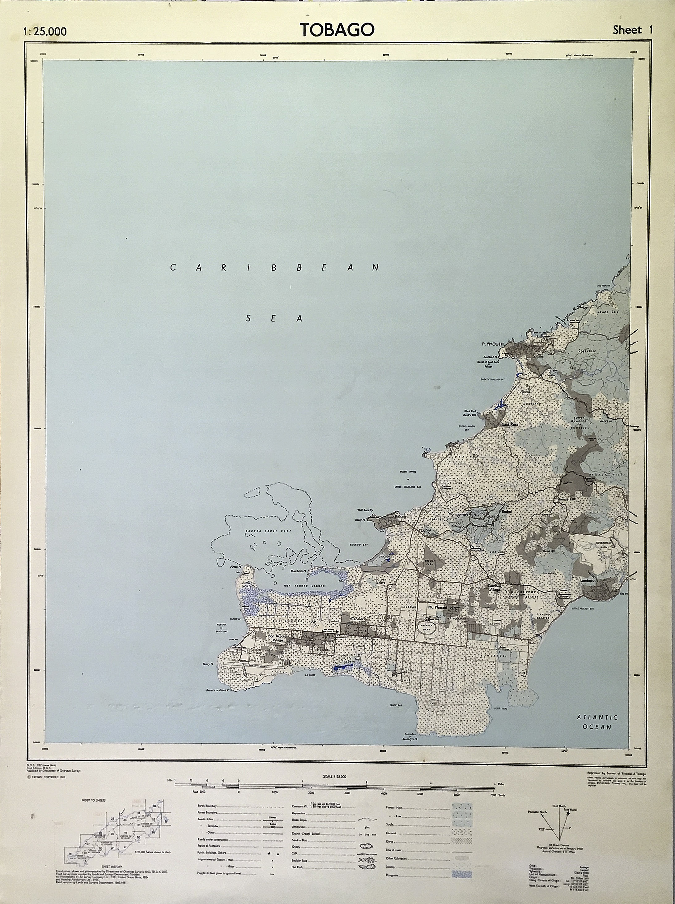 Map of Tobago, western. 1962