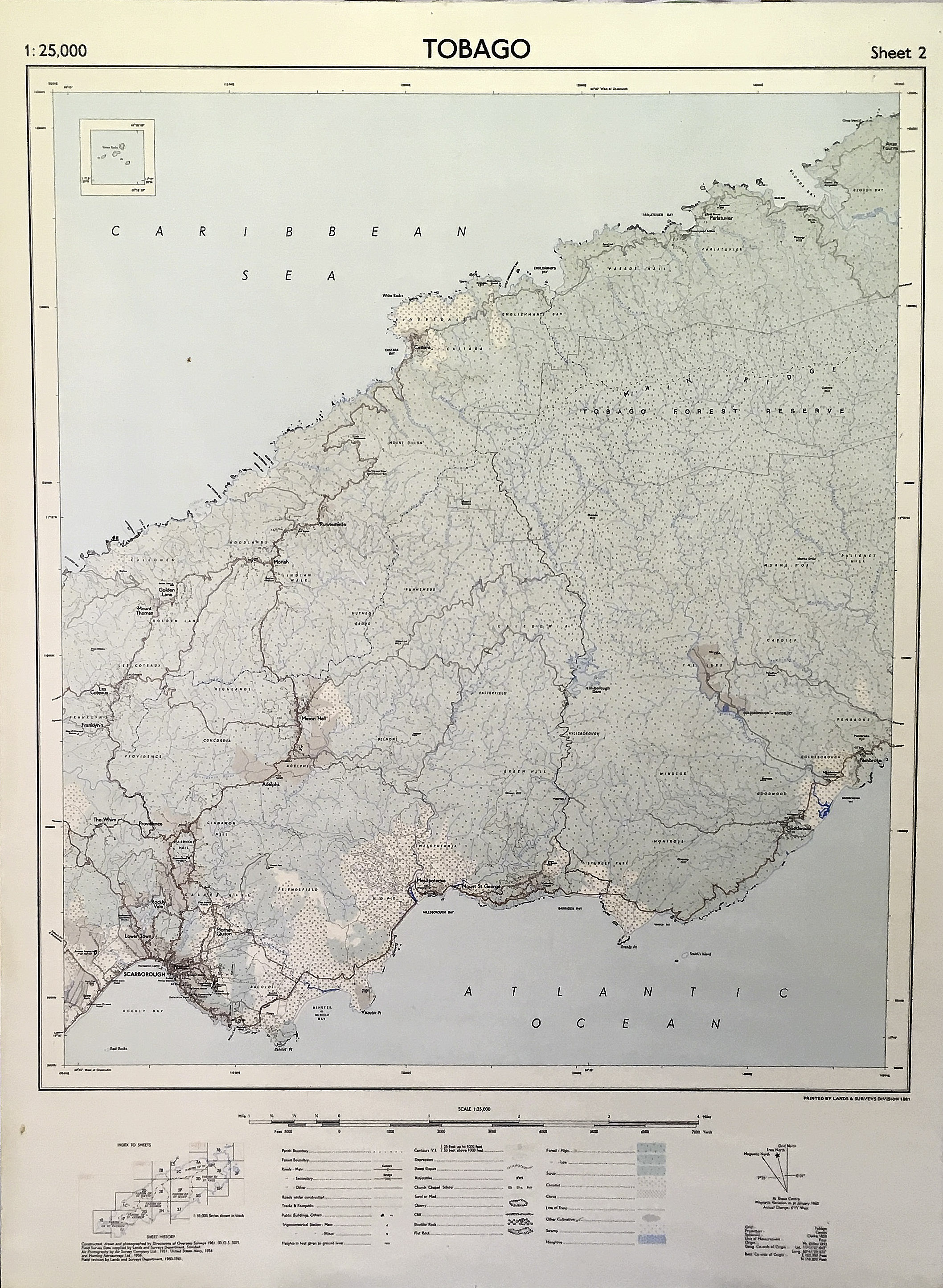 Map of Tobago, central. 1962