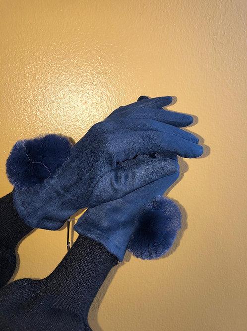 Edle Handschuhe mit Echtfell Pommel