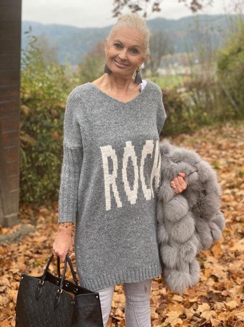 Lässiger Pullover mit Aufschrift Rock