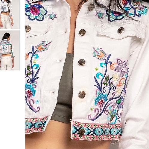 Jeansjacke mit Stickerei und Pommel