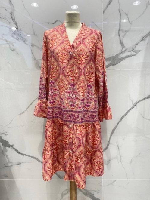 Boho Kleid bis zum Knie oder als Tunika tragbar aus Seide