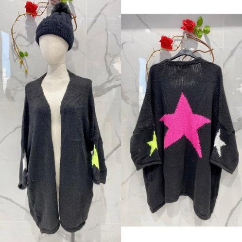 Strickjacke mit Bunten Sternen