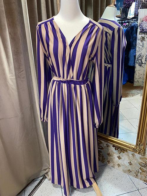 Viskose Kleid, beige - lila gestreift