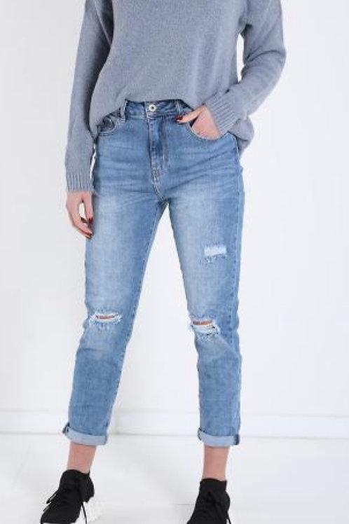 Jeans sehr schöne Waschung, leicht zerfetzt, hoch geschnitten
