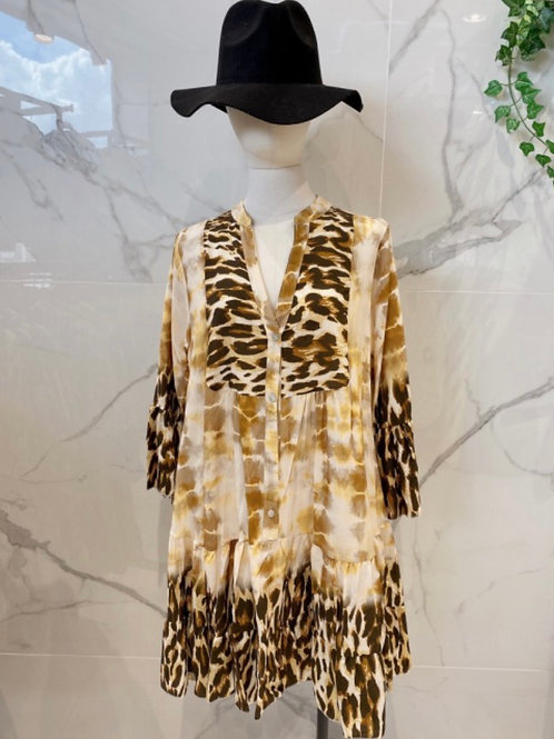 Braun gemustertes Kleid