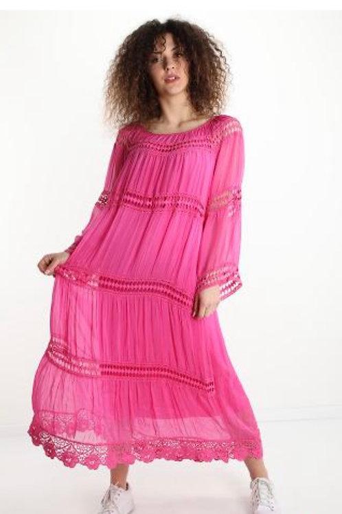 Boho Kleid lang aus Seide
