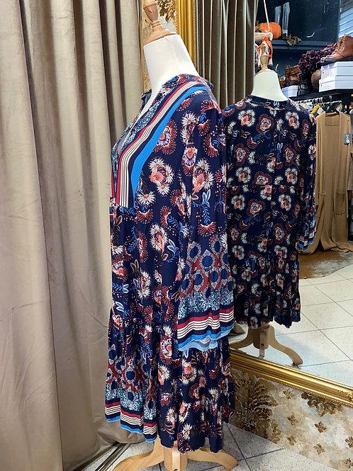 Boho Kleid knielang mit Blumenmuster