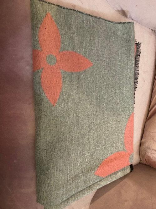 Schal grau/rosa