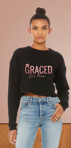 Cropped  crew neck sweatshirt
