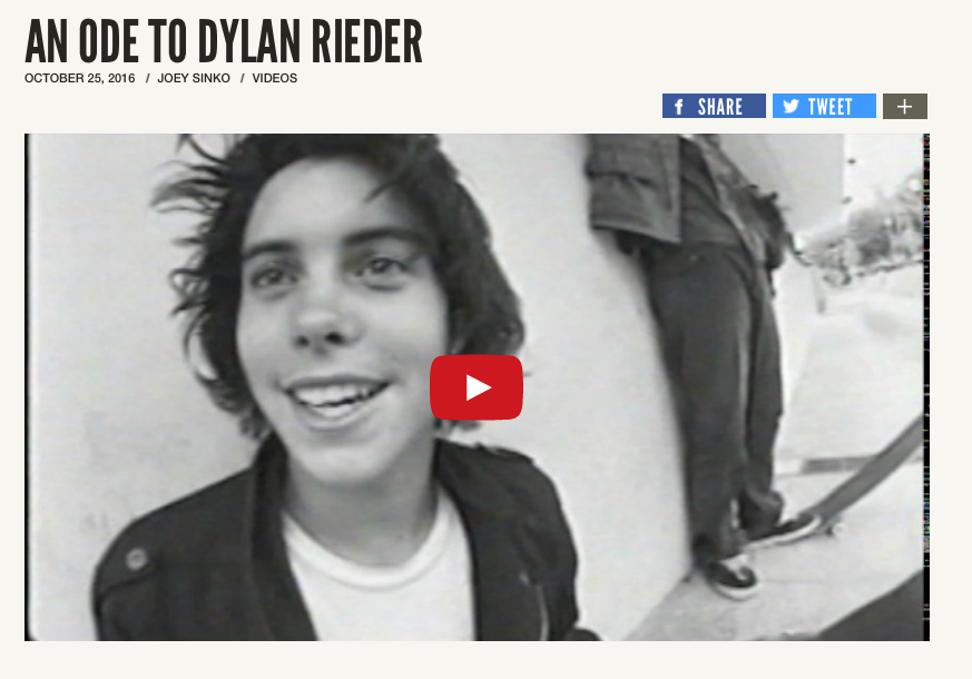 AN ODE TO DYLAN RIEDER