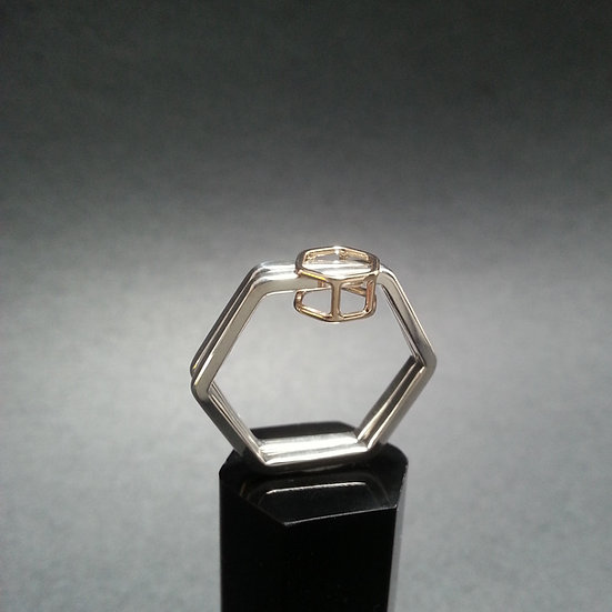 Partners in crime ring -18ct gold and sterling silver