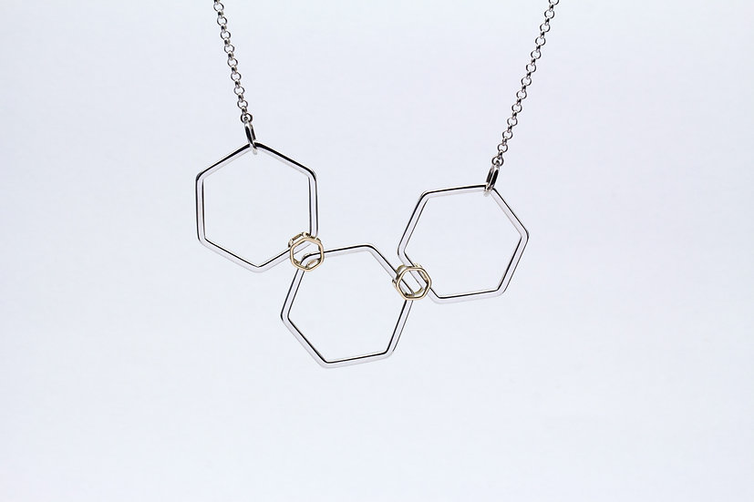 Three piece hexagon necklace - Silver with 18ct Gold
