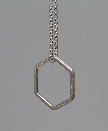 Floating hexagon necklace- matte