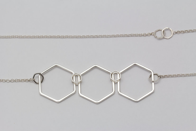 Three piece hexagon necklace - Sterling silver