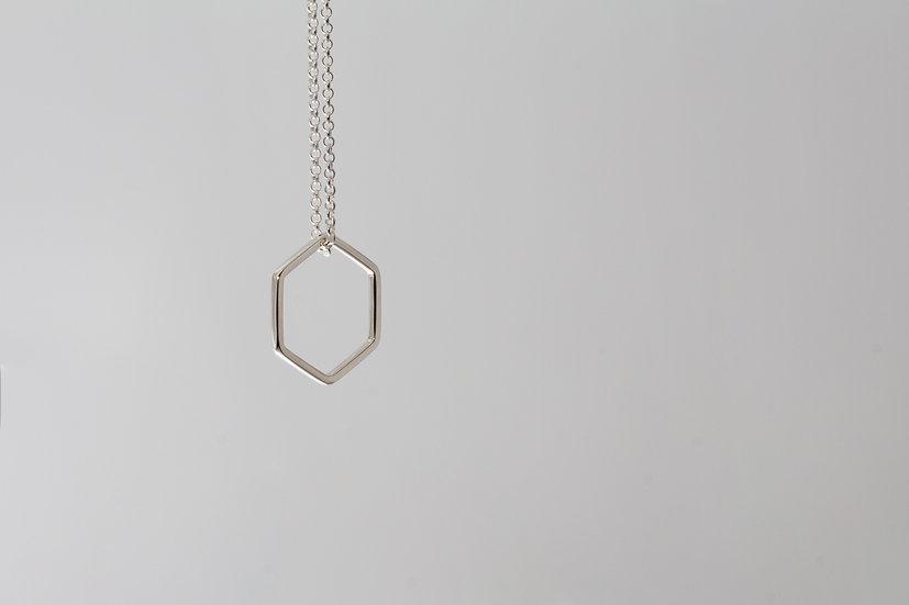 Floating hexagon necklace- shiny