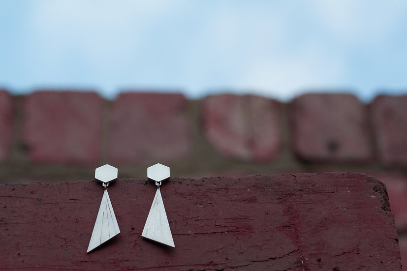 Ray of light earrings - Engraved Sterling Silver