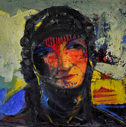7217-5(Marsh woman)30x30 cm,Oil on canva