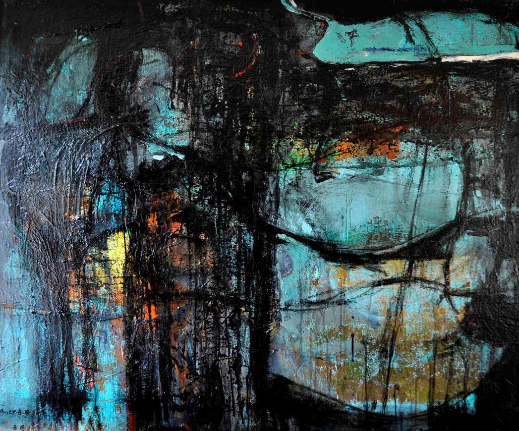 Mysterious  ,  110 x 90 cm  ,  Acrylic on canvas  ,  2018