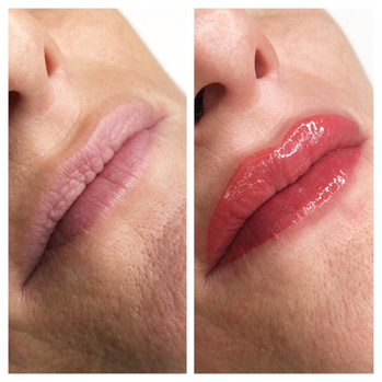 Maquillage permanent lèvres avant/après