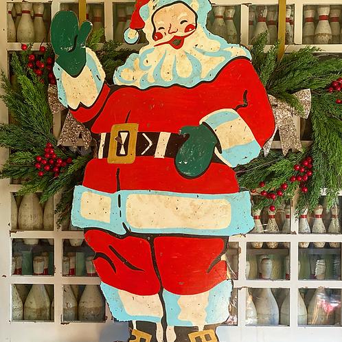 Blue Santa on Wood
