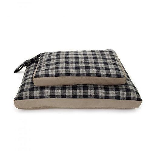 TweedMill Dog Bed Check Tweed / Silver Grey Suede