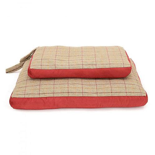 TweedMill Dog Bed Tweed / Red Suede