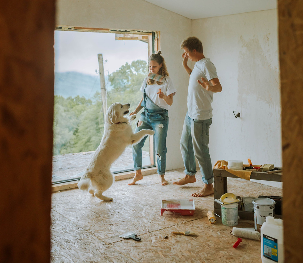 A happy couple dancing with their dog whilst decorating a room