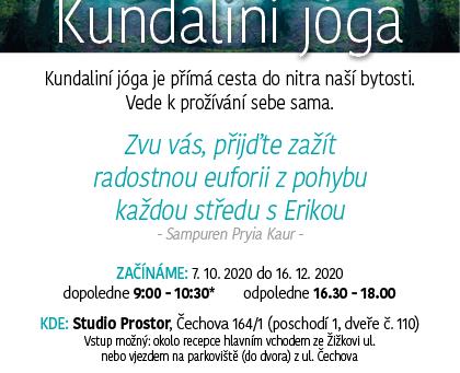 Kundaliní jóga s Erikou | STŘEDA | 16:30-18:00h