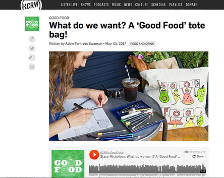 KCRW Good Food Stacy Michelson Tote Bag Foodie Illustrator Los Angeles