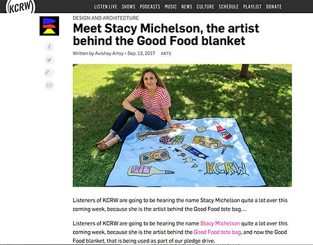 KCRW DNA Stacy Michelson Good Food Picnic Blanket Design an Architecture Foodie Artist Los Angeles