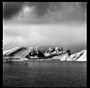 jøkulsarlon svart-hvitt