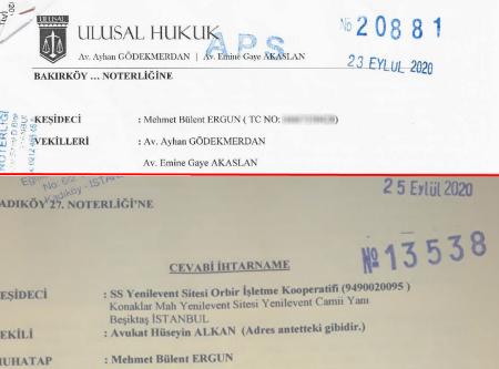 Bülent Ergun tarafından Yönetim Kuruluna Yapılan İhtar ve Cevabi İhtarname