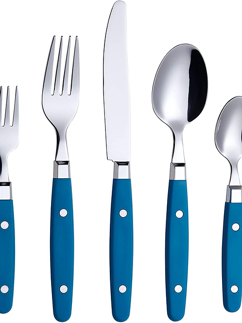 ANNOVA Stainless Steel Cutlery - 20-Piece Set, Sapphire Blue