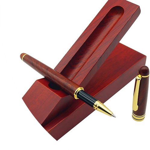 IDEAPOOL Rosewood Ballpoint Pen Set - with 6 Extra Refills