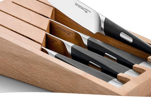 Linoroso Steak Knife - Set of 4 - with Elegant Wooden Gift Box