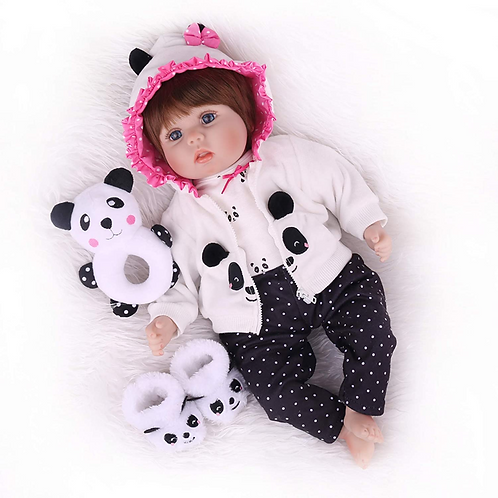 CHAREX Baby Reborn Doll, soft silicone, with panda