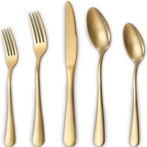 Gold Silverware Set - 20-Piece Stainless Steel Flatware Set Cutlery Set