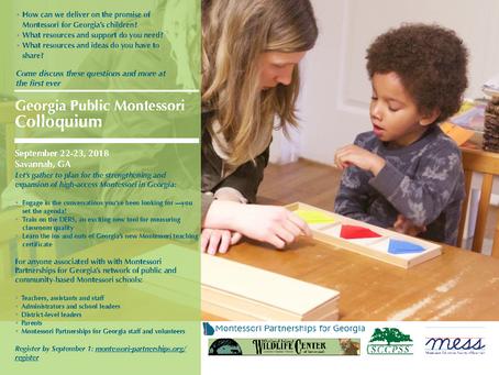 Save the Date: Statewide Montessori Colloquium Sept. 22