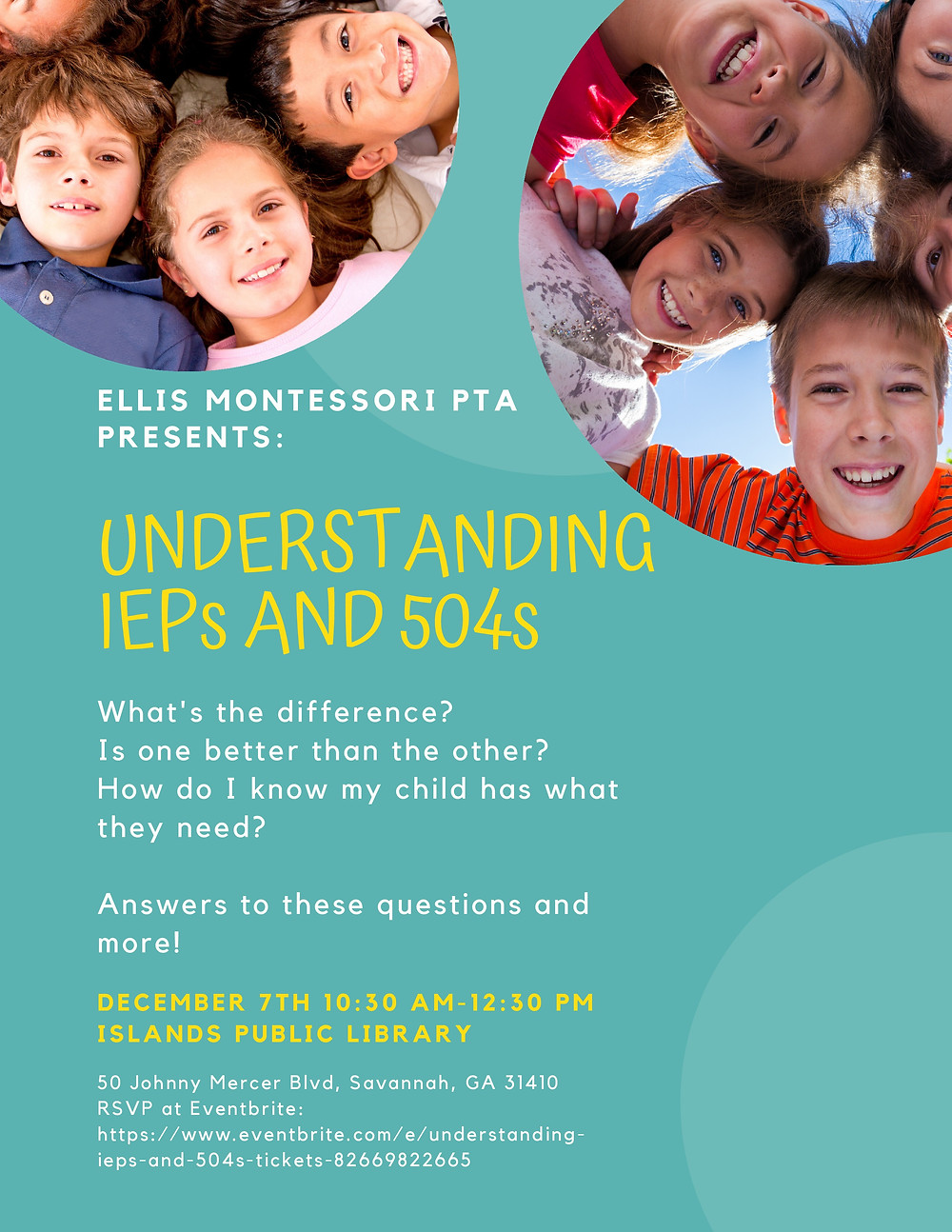 Parent Advocacy Workshop: Understanding IEPs and 504s