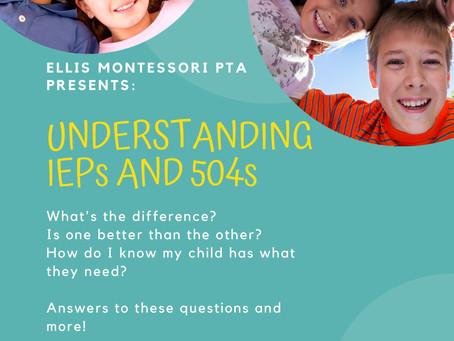 Parent Workshop: Understanding IEPs and 504s
