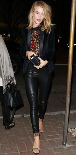 rosie wearing leather pants